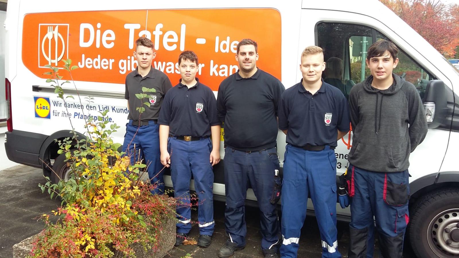 Langender Tafel Spendenaktion Tüten Egelsbach Feuerwehr Fussballverein
