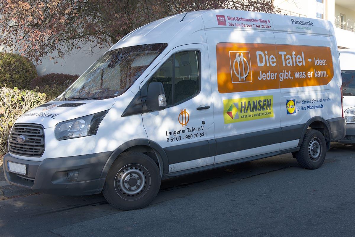 Langener Tafel Langen Fahrzeuge Lebensmittel sammeln Geldspenden Werbung bekleben