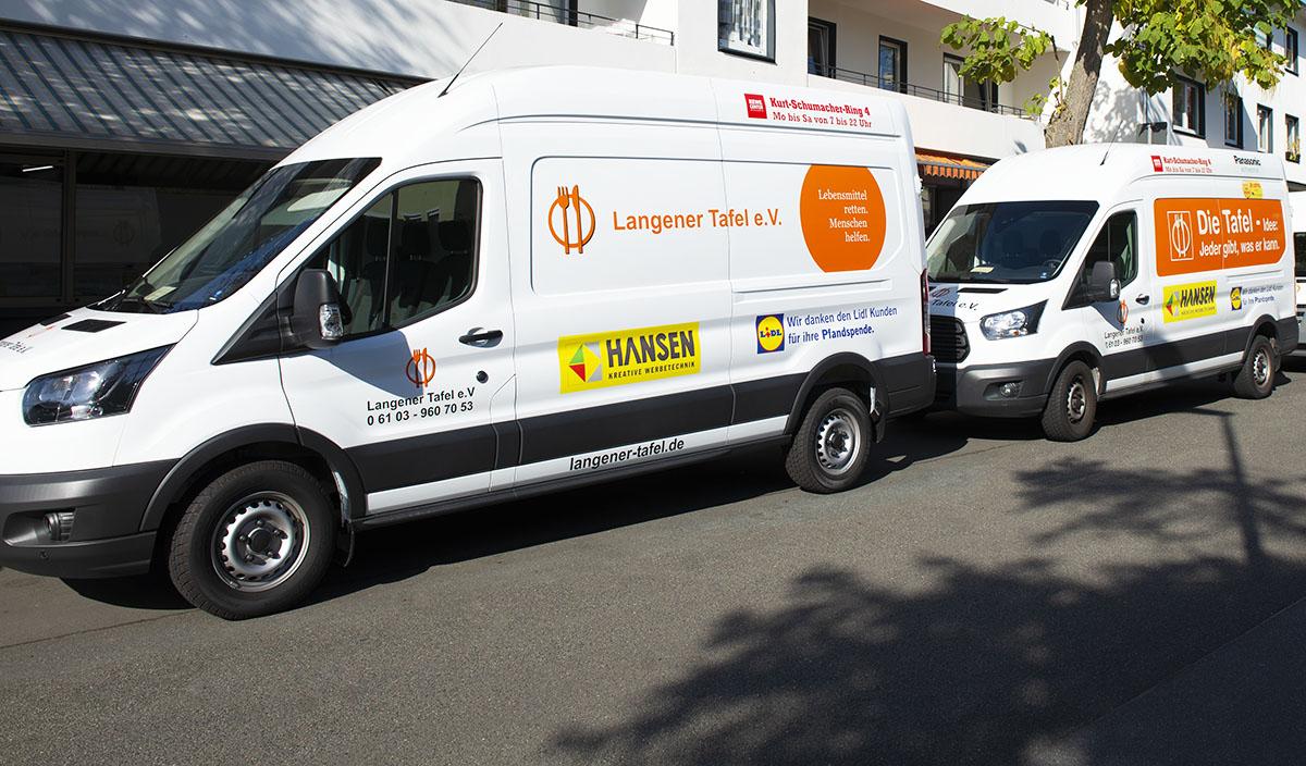 Langener Tafel Transport Lebensmittel Werbung auf Fahrzeugen