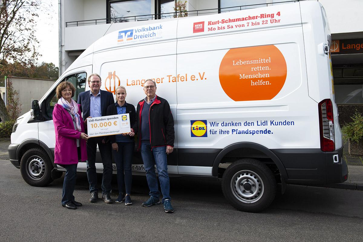 Lidl Pfandspende hilft Langener Tafel Kühlfahrzeug Uwe Schmidt Günter Böhnel