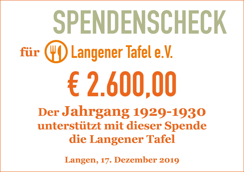 Langener erhält Geldspende €2.600 von Jahrgang 1929/30 aus Langen