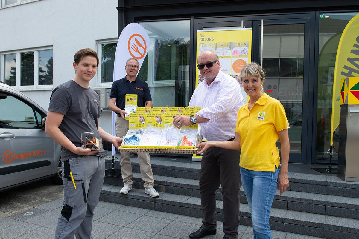 Langener Tafel Hansen Werbetechnik Dreieich Spende Mundmasken made in Hessen soziales Engagement