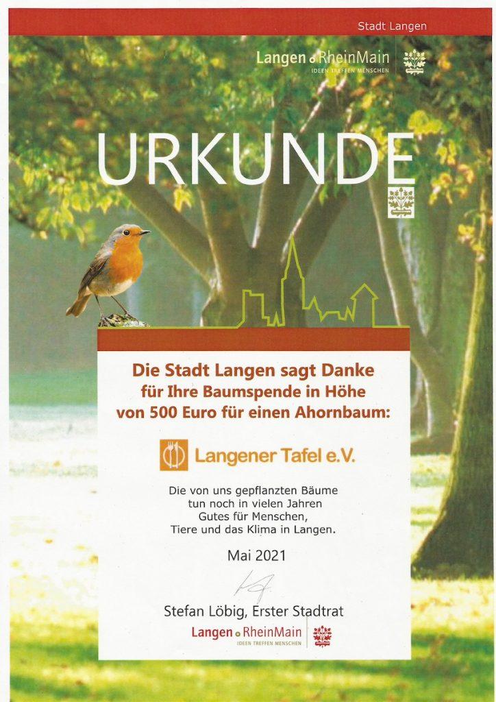 Langener Tafel Baumspende Stadt Langen